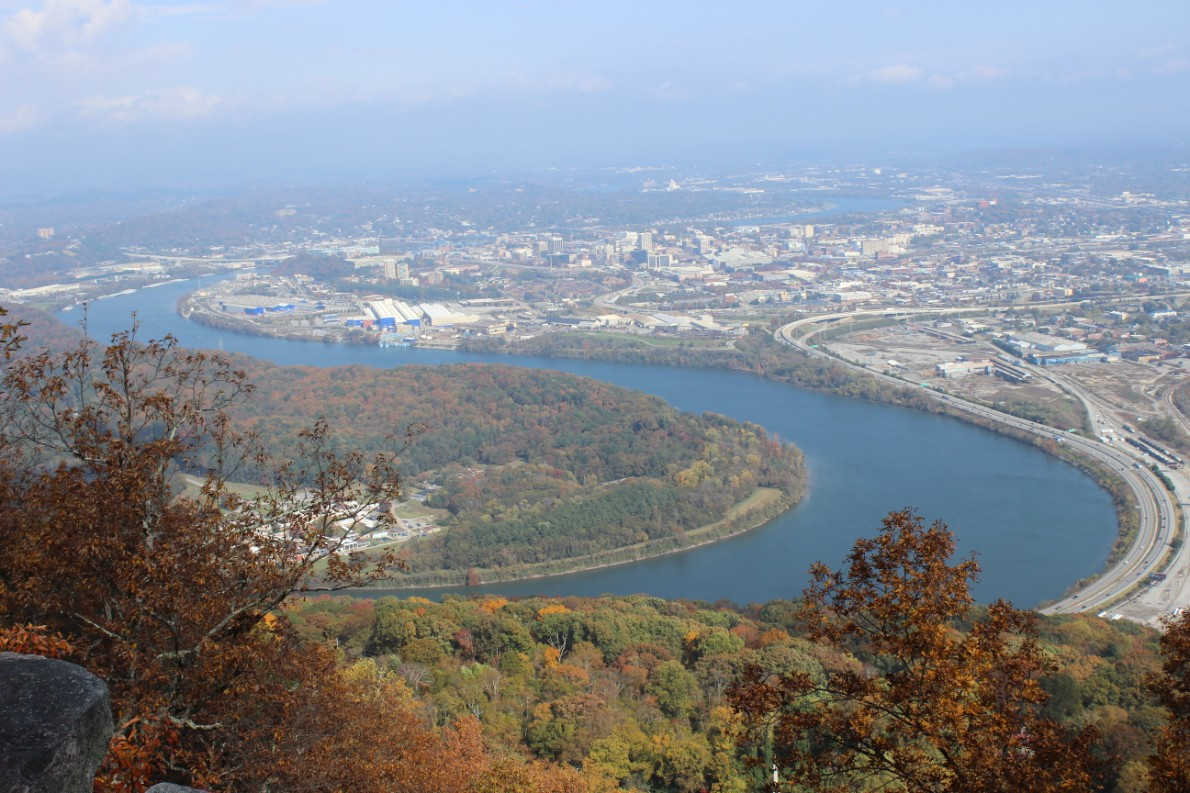 Overlooking Chattanooga. Tennessee River Snaking around by Maggie Tate